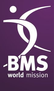 BMS logo, white on purple
