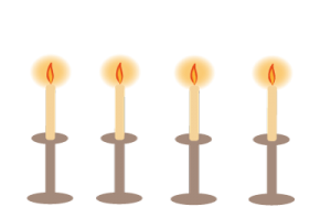 Simple image of four lit candles