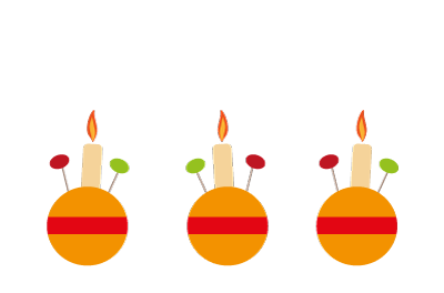 Three Christingle oranges decorated with candles and sweets