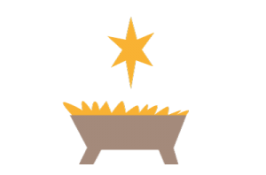 simplified graphic of a manger and star