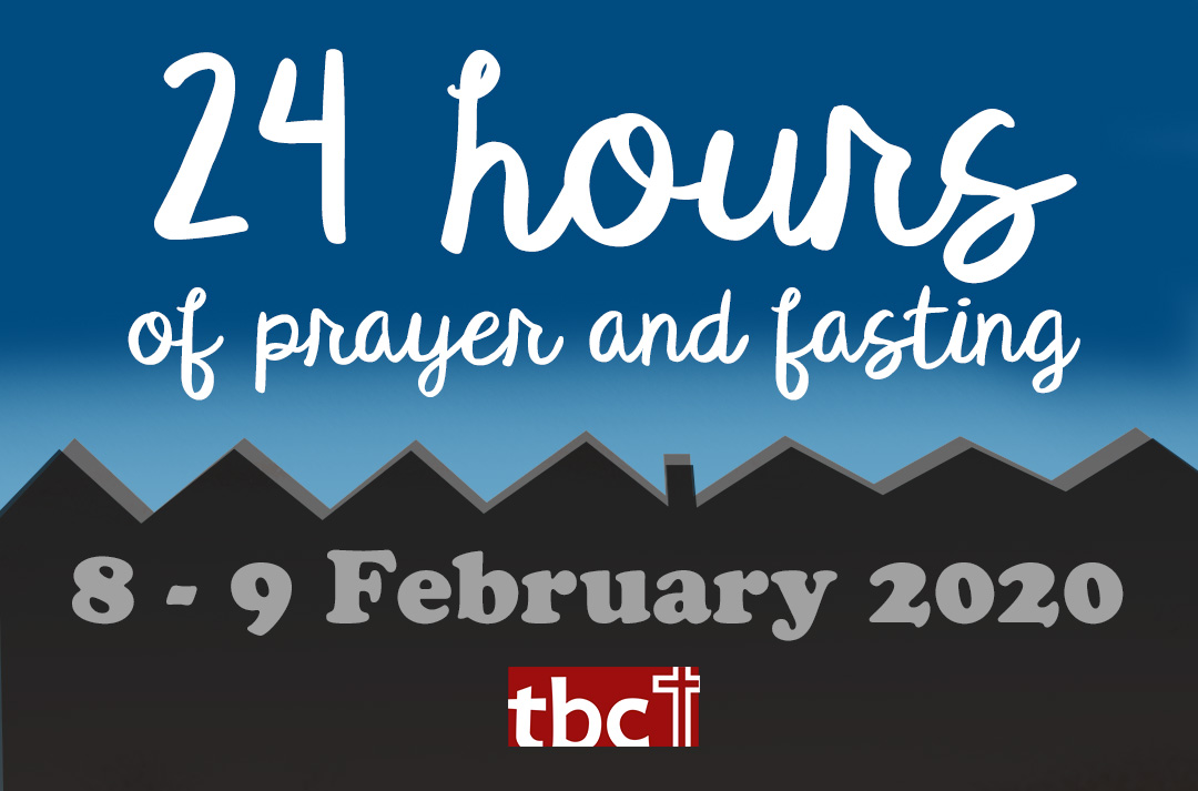 illustration of rooftops at twilight with text '24 hours of prayer and fasting 9-9 February 2020'