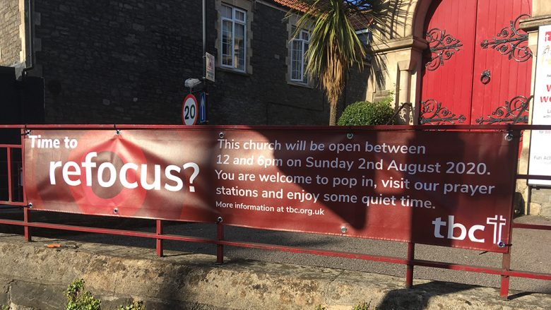 refocus banner on the railings of tbc building